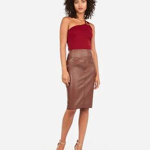 NWOT Express Brown Leather Pencil Skirt Slit Sz 2